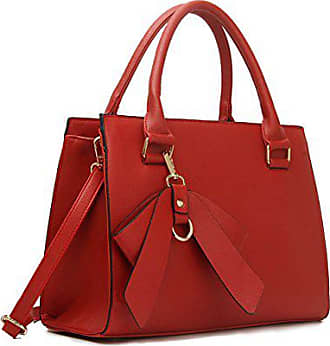 0580a274191d7 LeahWard Damen Kunstleder Bogen Charme nett Groß Handtaschen Tote  Schultertaschen 374c 348 485 (Rot Bogen