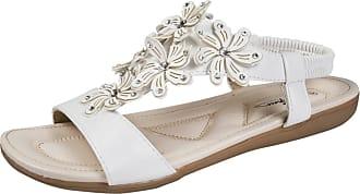 Lora Dora Womens Diamante Flower Sandals White UK 5