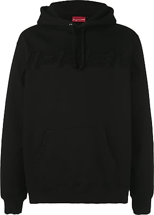 SUPREME embroidered logo hoodie - Black