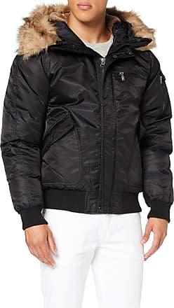 Urban Classics Mens Hooded Heavy Fake Fur Bomber Jacket, Black (Black 7), M