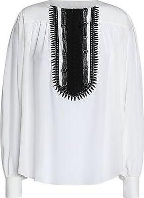 ea53cb5f86d40f Chloé Chloé Woman Lace-trimmed Silk Crepe De Chine Blouse Ivory Size 34