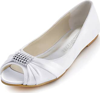 Elegantpark EP2053 White Womens Satin Peep Toe Flats Rhinestones Wedding Flats UK 10