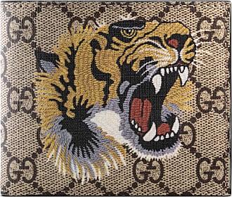 Gucci Portafoglio in tessuto GG Supreme con stampa tigre