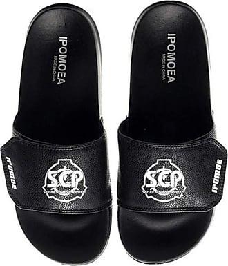 Cosstars SCP Unisex Anime Slippers Open Toe Sandals Adjustable Hook and Loop 4 / Black 280 MM