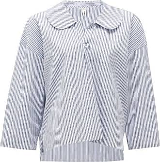 Comme Des Garçons Comme Des Garçons Comme Des Garçons - Peter Pan-collar Striped Cotton Blouse - Womens - Blue White