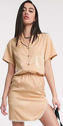 ZYA The Label jaquard short sleeve shirt with revere collar co-ord-Cream