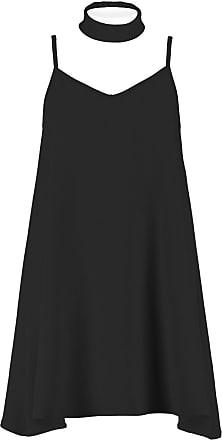 Parsa Fashions New Womens Liverpool Fabric Choker V Neck Sleeveless Cami Dress Top Plus Size UK 16-24 (22, Black)