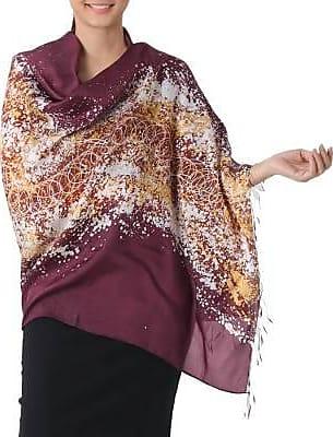 Novica Silk batik shawl, Fireworks on Burgundy - Batik Silk Shawl