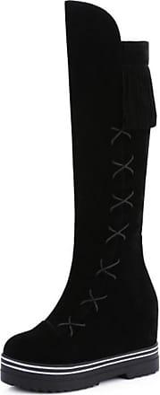 RAZAMAZA Women Fashion Platform Mid Wedge Heel Fringe Knee High Boots (41 AS, Black)