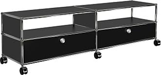 USM TV/Hi-Fi Sideboard mit 2 Schubladen unten - graphitschwarz RAL 9011/152x37x43cm/mit Rollen