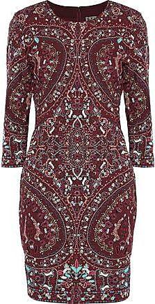 8980b1a23f58 Haute Hippie Haute Hippie Woman Embroidered Cady Mini Dress Merlot Size 10