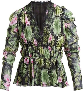 Giambattista Valli Floral-print Gathered Silk-chiffon Blouse - Womens - Black Multi