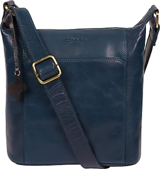 Pure Luxuries London Concka London Yasmin Womens 25cm Biodegradable Leather Cross Body Bag with Zip Over Top, 100% Cotton Lining and Adjustable Leather Strap in Snorkel Bl