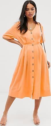 Miss Selfridge midi dress with button through in orange-White