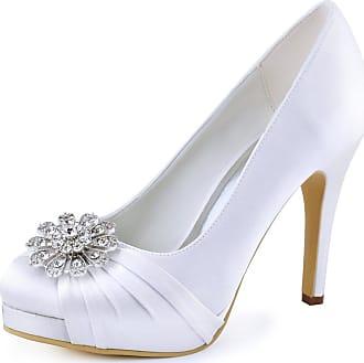Elegantpark EP2015-PF Women Closed Toe Platform High Heels Court Shoes Pleated Rhinestones Satin Wedding Party Bridal Shoes White UK 6(EU 39)