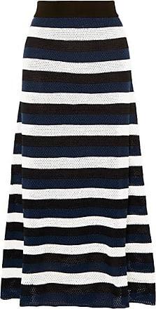 0bd3a6f614d Sonia Rykiel Striped Open-knit Wool-blend Midi Skirt - Blue