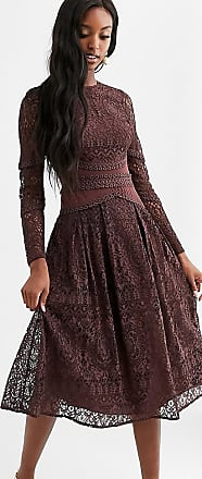 Asos Tall ASOS DESIGN Tall long sleeve dress in lace with geo lace trims-Blue