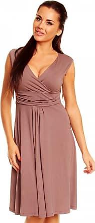 Zeta Ville Zeta Ville Womens V Neck Sleeveless Casual Flattering Summer Circle Dress 256z (Cappuccino, UK 12, L)