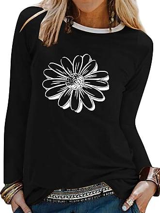 Dresswel Women Sunflower Graphic Print Crew Neck Long Sleeve Tshirts Tops Pullover Blouse Tee Shirt Black