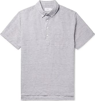 Onia Button-down Collar Striped Linen And Tencel-blend Shirt - Navy
