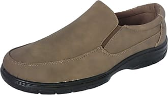 Cushion-Walk Mens Faux Leather Lightweight Formal Business Work Comfort Lace-Up, Slip-on or Touch Fastening Shoes Size 7-11 Wide Fitting (10 UK, Brown Slip-On)