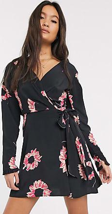 Topshop wrap floral mini dress in black