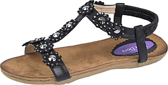 Lora Dora Womens Diamante Flower Sandals Black UK 5