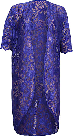 Purple Hanger Womens Floral Lined Lace Ladies Scallop Short Sleeve Long Open Kimono Cardigan Top Plus Size RoyalBlue 26-28