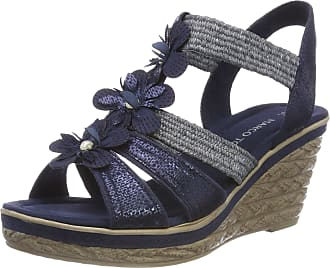 2e956a77879 Marco Tozzi Womens 28302 Sling Back Sandals Blue (Navy Comb 890) 6 UK