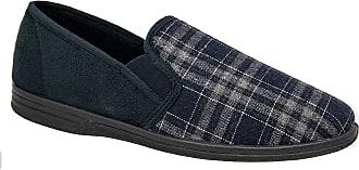 Zedzzz Mens Navy Blue Check Felt Comfortable Slippers Sizes 7 to 14 (9)