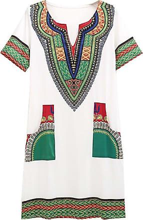 Inlefen Womens Summer Dress Casual Short V-Neck African Dresses Mini Ladies Beach Dress White 2XL