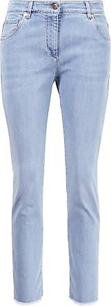 Brunello Cucinelli Skinny Jeans mit ausgefranstem Saum Hellblau