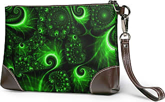 GLGFashion Womens Leather Wristlet Clutch Wallet Green Pattern Light Storage Purse With Strap Zipper Pouch