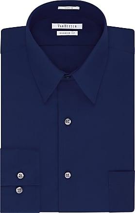 Van Heusen mensDress Shirt Regular Fit Poplin Solid Point Long Sleeve Dress Shirt - Blue - XXL (Neck 47 cm Sleeve 91/94 cm)