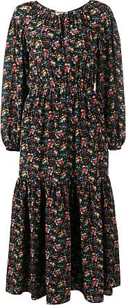 Saint Laurent Vestido floral de seda - Preto