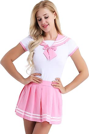 TiaoBug inhzoy Women 2Pcs Japanese Uniform Press Button Crotch Romper with Mini Pleated Skirt Cosplay Costumes Pink Large