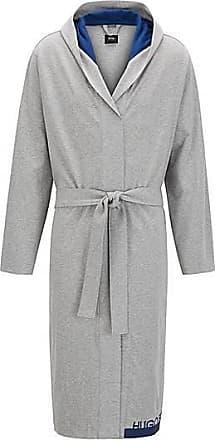 BOSS Robe de chambre à logo en coton chiné épais