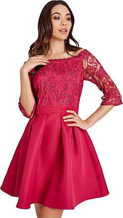 Little Mistress Frances Hot Pink Lace Bardot Skater Dress 14 UK Hot Pink