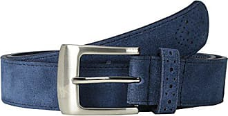 Stacy Adams Stacy Adams Mens 32mm Suede Leather Belt with Perforated Tip and Keeper, Blue, 42