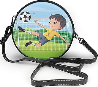 Turfed Young Boy Playing Football Print Round Crossbody Bags Women Shoulder Bag Adjustable PU Leather Chain Strap and Top Zipper Small Handbag Handle Tote