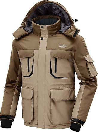 Wantdo Mens Warm Ski Jacket Hooded Mountain Waterproof Winter Coat Windproof Raincoat Outdoors Parka Khaki Coffee XL