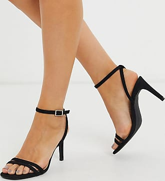 Truffle wide fit square toe strappy heeled sandals in black