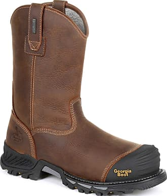 Georgia Boot Rumbler Composite Toe Waterproof Pull-on Work Boot Black and Brown