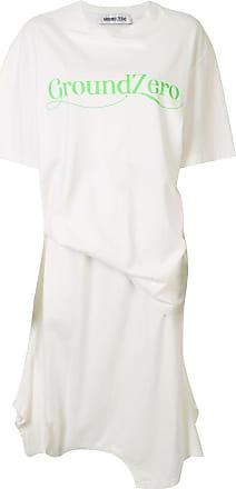 Ground-Zero Vestido reto midi drapeado - Branco