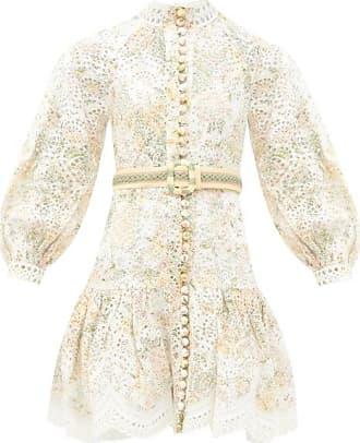 Zimmermann Amelie Broderie-anglaise Linen Sun Dress - Womens - White Multi