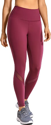 CRZ YOGA Womens High Waist Mesh Leggings Workout Tummy Control Pants with Zip Pocket-25 Inches Hazy Purple 10