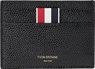 Thom Browne Striped Grosgrain-trimmed Pebble-grain Leather Cardholder - Black