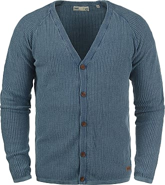 Solid Tebi Mens Cardigan Chunky Knit Jacket with V-Neck Made of 100% Cotton, Size:L, Colour:Dark Denim (1350)