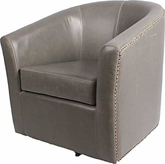 New Pacific Direct Ernest Bonded Leather Swivel Chair,Vintage Gray,Fully Assembled
