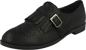 Spot On Ladies Spot On Brogue Style Slip On Shoes - Black, Size 5 UK